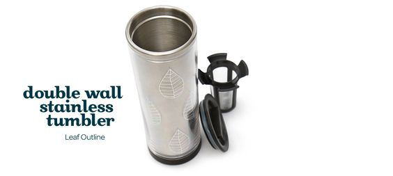 Double wall stainless tumbler leaf outline stylish - Travel mug stainless steel interior ...