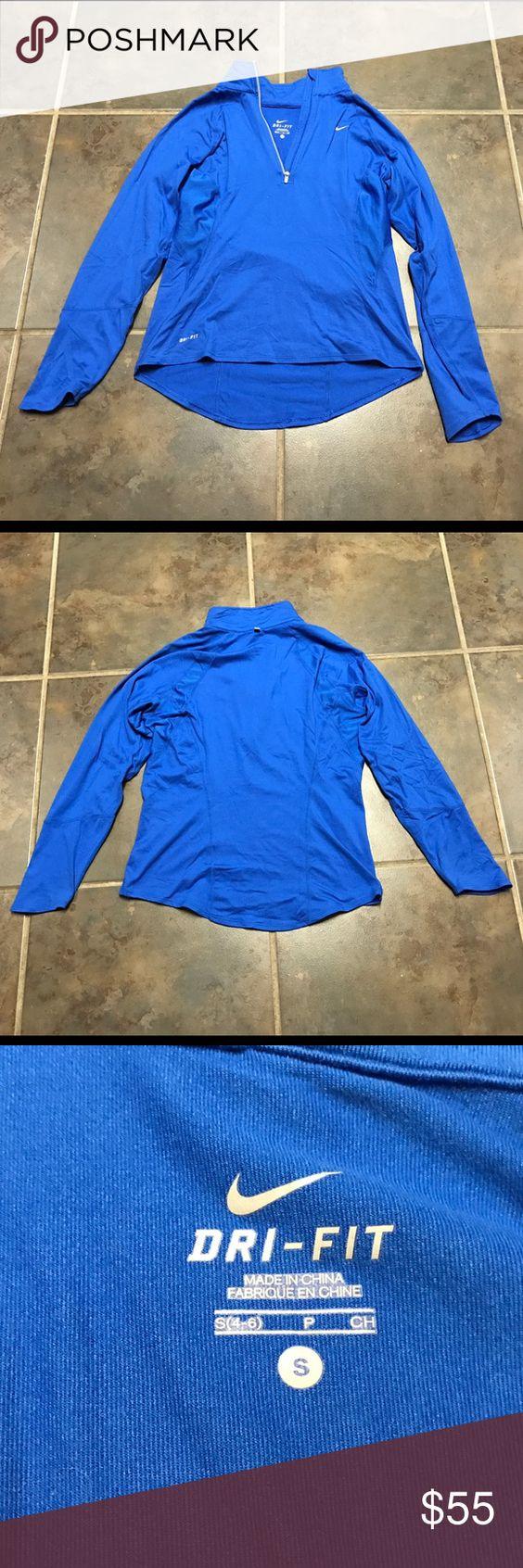 NIKE dri-fit pullover. LIKE NEW!! Beautiful bright blue NIKE dri-fit pullover. LIKE NEW!! Nike Tops