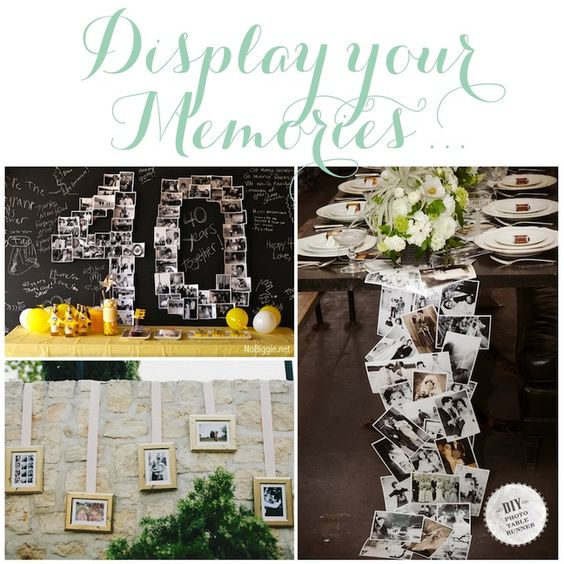 Anniversary Party - table runner idea is cute. Not sure we need all of that.