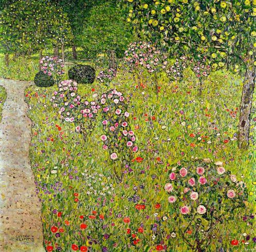 """fleurdulys: """" Fruit Garden with Roses - Gustav Klimt """":"""