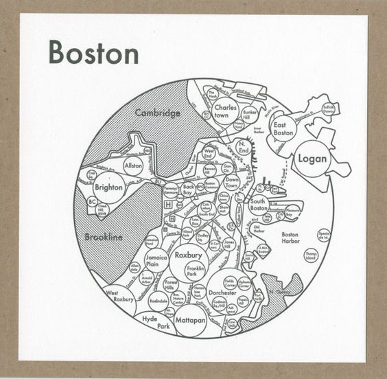 Boston Map 8 x 8 Letterpress Beautiful Minimalist Simple – Boston City Map Tourist