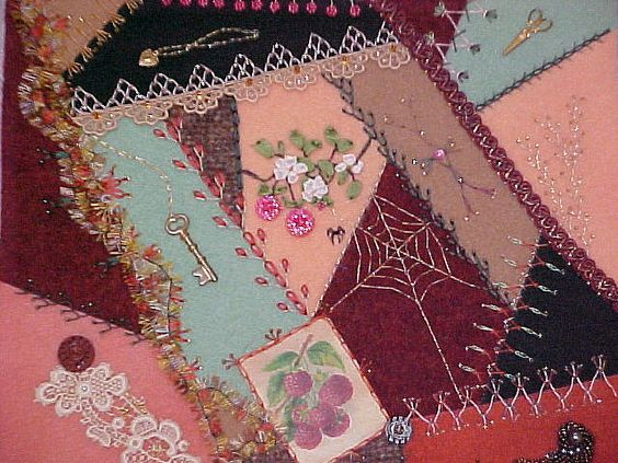 This is the fulled wool block that I embellished for Cindy Thury Smith and that was featured in the Winter 2003 issue of American Quilter.