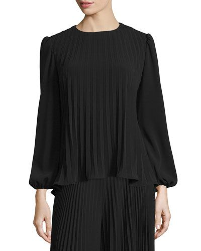 W0CDD Co. Long-Sleeve Pleat-Front Top, Black