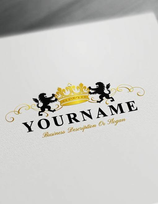 Online Lions Logo Template Free Golden Crown Vintage Logo Maker Free Logo Templates Beauty Logo Design Vintage Logo Maker