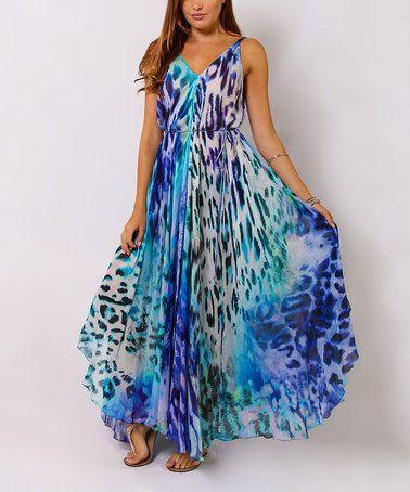 Loving this Blue Animal Tie-Waist Maxi Dress on #zulily! #zulilyfinds