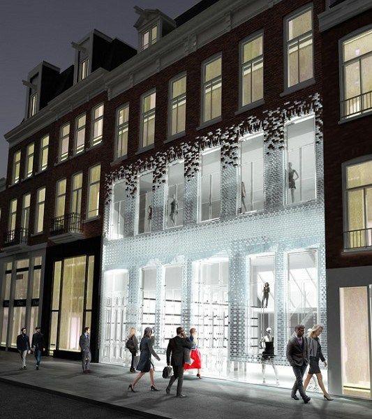 Stunning Contemporary Beachhouse Combining Textured Brick: Amsterdam -Glass Brick Facade
