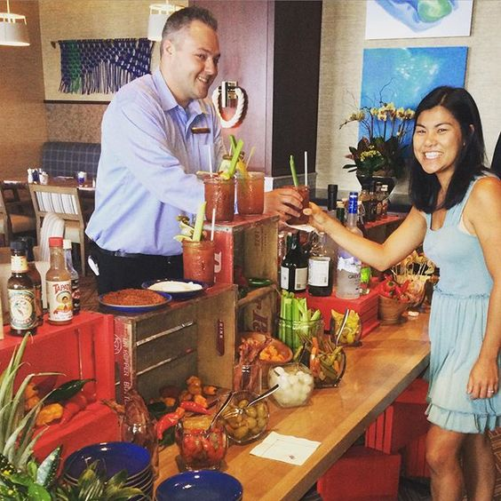 "#SPOTTED at The Ritz-Carlton, Half Moon Bay - Bloody Mary Bar #repost @globalgrub: ""The ultimate Bloody Mary bar! Yeah baby! #bloodymary #bacon #shrimp #spicy #pickapeppa #celery #olives #pickles #celery #greenbeans #vodka #titos #patron"""