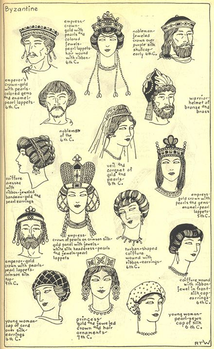Ilustrations of the different hat and hair styles of Byzantine and Ecclesiastic : Jeweled crowns, fillets, and caps * colored glass ornaments * pearl headdresses * felting *: