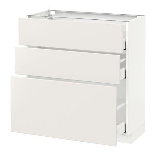 Metod Maximera Element Bas 3 Tiroirs Blanc Veddinge Blanc 80x37 Cm Tiroir Ikea Et Placard