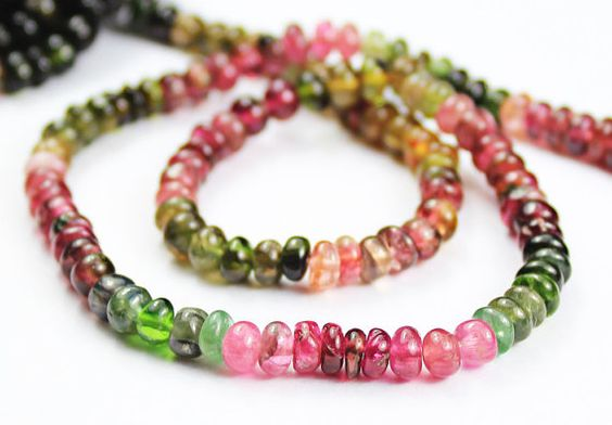14 Inches  Natural Watermelon Tourmaline by jewelsexports on Etsy, $28.00