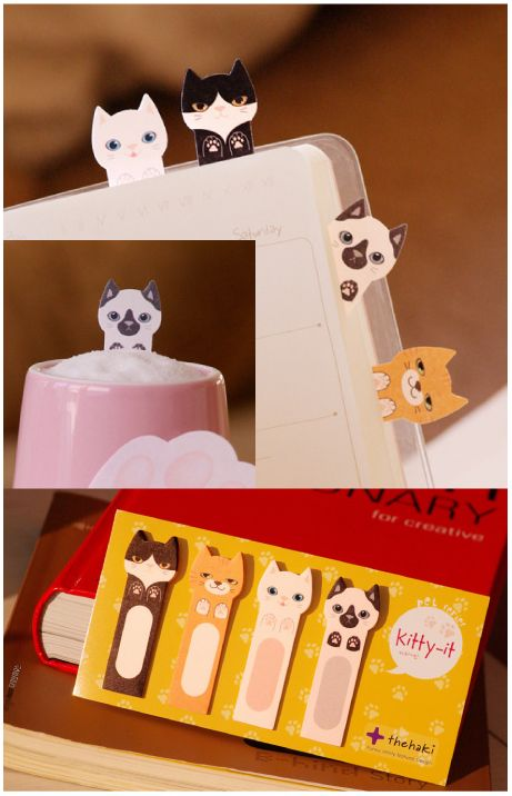 MochiThings.com: Kitty Index Sticky Note. I am gonna have to track these down @craftycat99 are you with me?