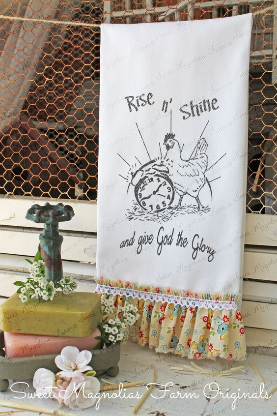 """Ruffled Bathroom Hand Towel - """" Rise N Shine and Give God the Glory"""" Rooster and Alarm Clock by SweetMagnoliasFarm $15.00 Sweet Magnolias Farm Design ©"""