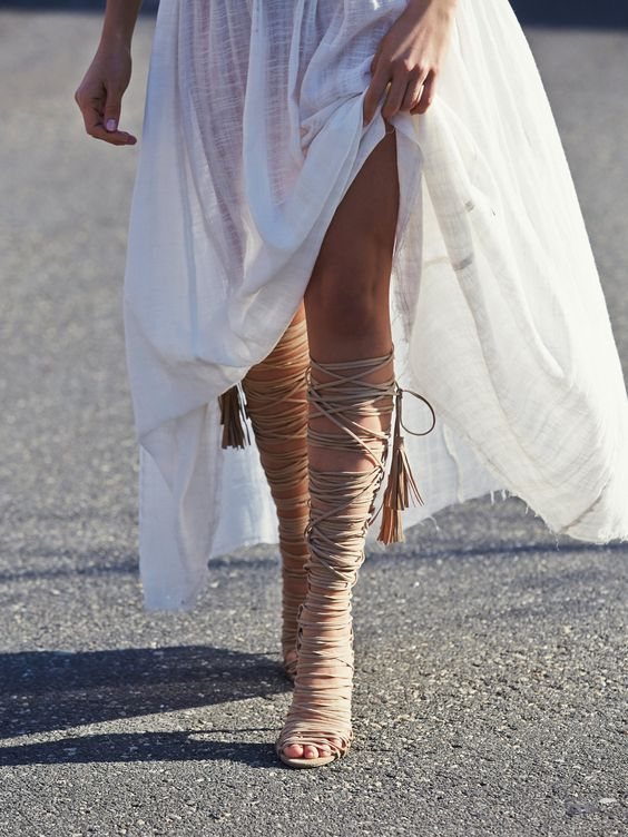 knee high heeled gladiator sandals | women's fashion + style accessories #shoes: