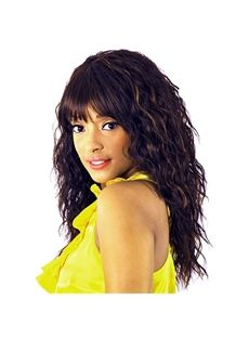 Sketchy Long Wavy Black Full Bang African American Wigs for Women 20