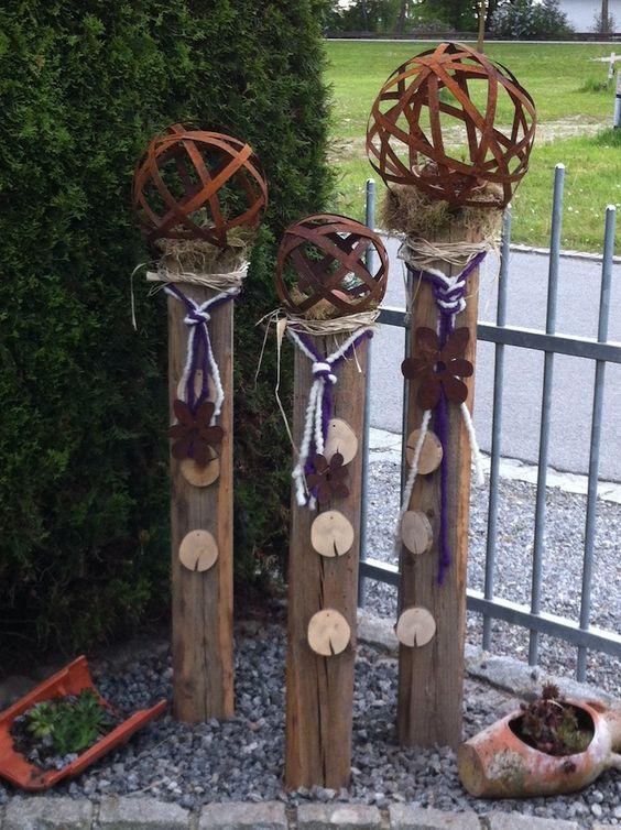Gartendeko aus alten Holzbalken... - Wohnen und Garten Foto