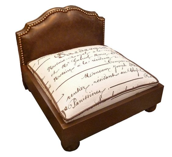 Custom Dog Bed with Upholstered Headboard by AdoreCustomPetBeds, $349.00