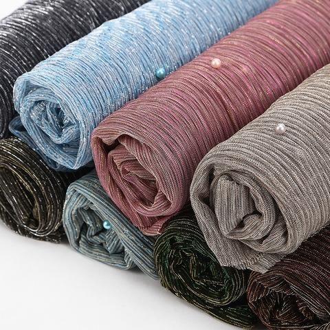 Womens long pleated georgette hijab crinckle head scarf wrap