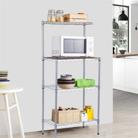 3 Tier Kitchen Microwave Storage Rack Oven Stand Strong Mesh Wire