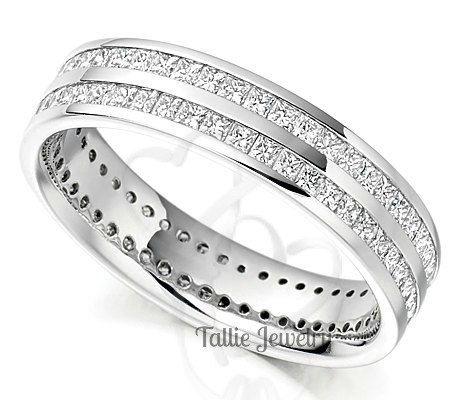 Damen Diamant Eheringe, Ewigkeit Diamantringe, 14 K Weissgold Eheringe, passende Trauringe Trauringe Jubiläum