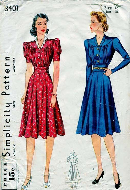 Vintage Simplicity 3401 One Piece Day Dress Pattern late 1930s ...