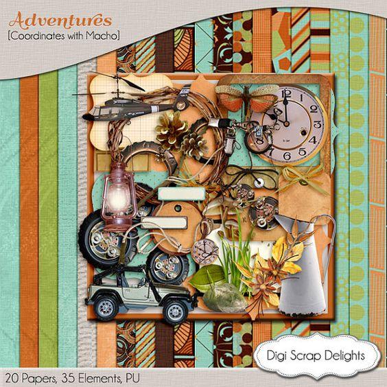 Adventures Masculine Digital Scrapbooking Kit by DigiScrapDelights,  boys, men, male #brown #teal #green #black