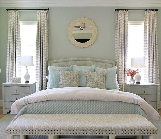 Andrew howard design perfectly balanced bedroom retreat soothing palette of blues whites for Soothing colors for master bedroom