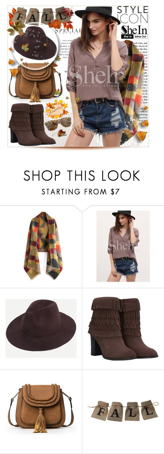 """SHEIN- COFFEE STYLISH FEDORA HAT"" by purplerose27 ❤ liked on Polyvore"