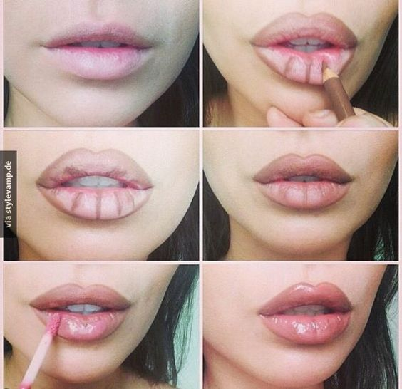 der natürliche Look der Lippen durch den Glanz betonen