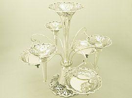 Sterling Silver Epergne / Centrepiece - Antique Edwardian  SKU: W5564 Price GBP £6,950.00  #epergne #centrepiece #Edwardian #antique