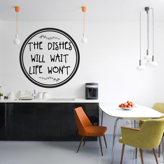 Sweetums The Dishes Will Wait Life Won't Wall Decal 36-inch wide x 36-inch tall