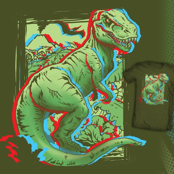 Jurassic Art! 3D dinosaur t-shirt design up for voting at shirt.woot through 5/11/15.
