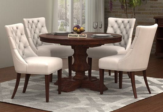 Darren 4 Seater Round Dining Set Walnut Finish Round Dining