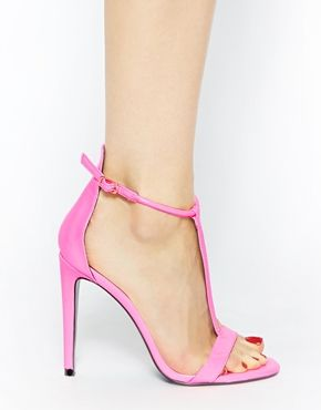 River Island Parrot Pink T Bar Barely There High Heeled Sandals