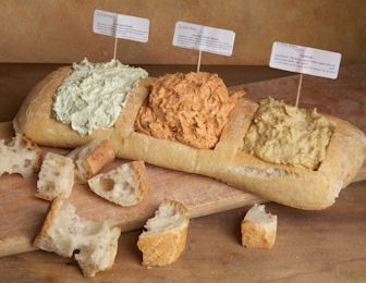 Bread & Spread Sampler..There is no recipe attached to this pin but I loved the idea of it so much, I thought I'd share.: