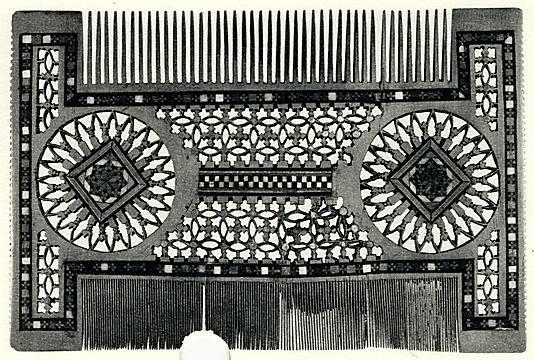 Comb;  Date: 15th century;  Culture: North Italian;  Medium: Wood with ivory and ebony inlay;  Dimensions: Overall: 5 1/16 x 7 5/8 in. (12.9 x 19.4 cm);  Classification: Woodwork-Miscellany;  Accession Number: 61.30