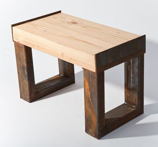 This bench is made from a reclaimed wood beam and various for Table 850 wood