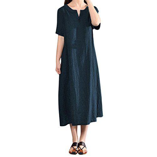 Paolian Vestido Mujer Verano Casual Sólido Vestido Tallas Grandes Cuello V Fiesta Lino Vestido Mang Vestidos De Mujer Vestido Largo Algodon Vestidos Con Mangas