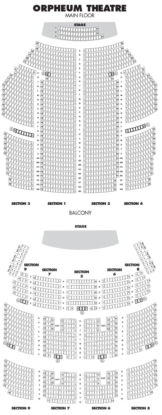 Orpheum Theatre Seating Chart Seating Charts Theater Seating Seating