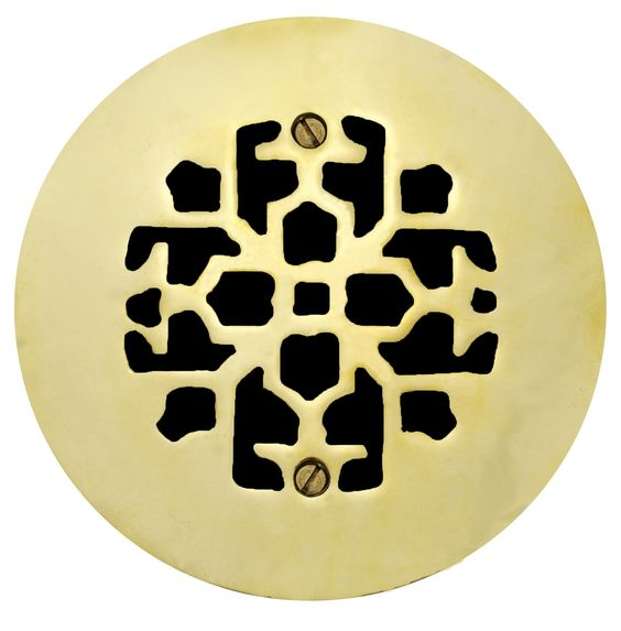 Brass Round Floor Ceiling Or Wall Grates For Air Or Heat Vent Register Covers Without Dampers 4 Hole Size 6 Overall Diameter Zm Q402 Heat Vents Vintage Hardware Register Covers
