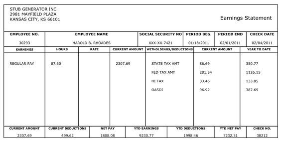 Free Printable Blank Paycheck Stubs Hereu0027s an example of the - pay stub format
