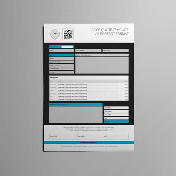 Price Quote A4 Template CMYK \ Print Ready Clean and Modern - how to create a quotation template