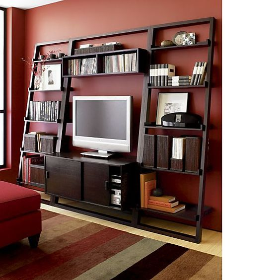 Cool Family Room With Bookcases Amp Cabinets On Either Side Of Fireplace TV