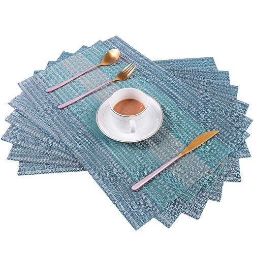 Pauwer Placemats Set For Dining Table Plastic Woven Vinyl Place Mats Wipe Clean Non Slip Heat Resistant Washable Kitchen Tab Table Mats Placemats Kitchen Table