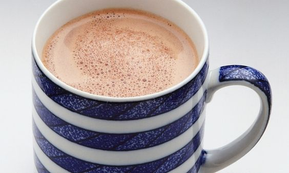 Hot chocolate in a stripy mug