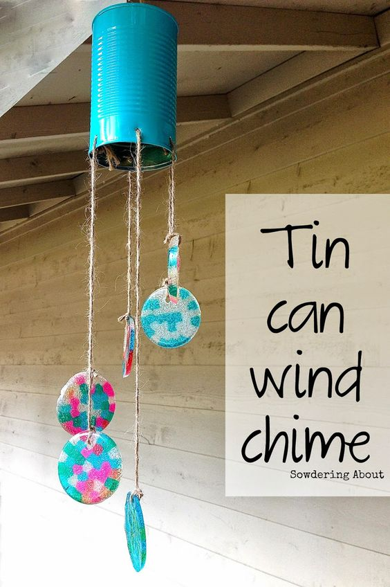 20 minute tin can wind chime using pony beads such a for Wind chime craft projects