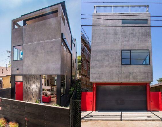 Fassade in Grau aus Beton eines modernen Architektenhauses in Los Angelis, Kalifornien