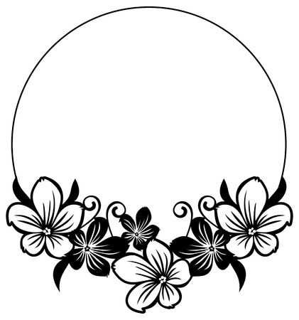 Black And White Round Frame With Abstract Flowers Silhouettes Flower Silhouette Doodle Art Designs Clip Art Borders