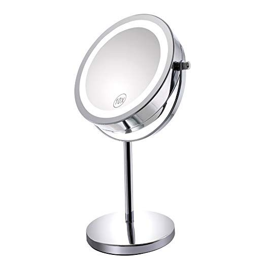 Gospire 10x Magnified Lighted Makeup Mirror Double Sided Round Magnifying Mirror Standing 360 Degree Makeup Mirror Makeup Mirror With Lights Magnifying Mirror