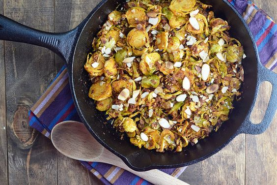 Brussels sprouts with chorizo, raisins, and almonds