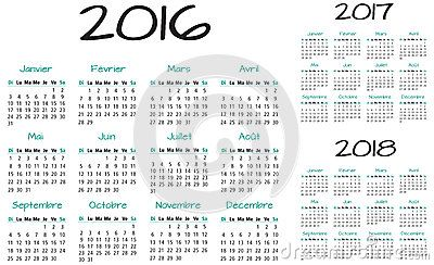 Turquoise French 2016 2017 and 2018 Year Vector Calendar..